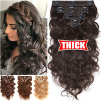 REAL THICK Double Weft Clip In Remy Human Hair Extensions Full Head Brown Ombre
