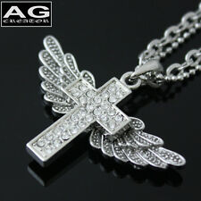 """Angel wing cross cubic pendant 19"""" double layers chain necklace US SELLER"""