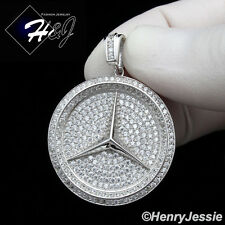 MEN 925 STERLING SILVER ICED OUT BLING HIP HOP ROUND CHARM PENDANT*SP166