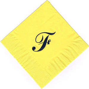 Extra Large Single Monogram F 50 Personalized printed cocktail beverage napkins