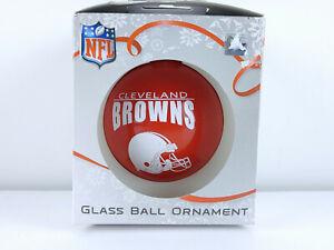 Cleveland Browns Hanging Glass Ball Christmas Ornament Orange & White Helmet