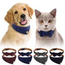 Adjustable Bandana-Style & Bow Tie Dog Collars Pet Puppy Cat British Neckerchief