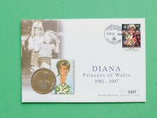 1998 Diana Princess of Wales Cover & UNC Turks & Caicos 5 Crowns coin SNo38986