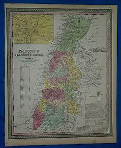 1854 Mitchell's New Universal Atlas Map ~ PALESTINE ~ Authentic T. Cowperthwait