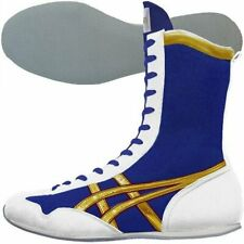 asics Boxing Ring shoes Long type Blue White Gold made in Japan Authentic Bto