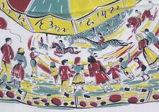Vintage Scarf Awesome 1950s Carousel Merry Go Round Scene Family Animals WOW!