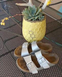 BIRKENSTOCK Sandals * ARIZONA * Metallic Silver BirkoFlor Shoes Womens 6 (37)