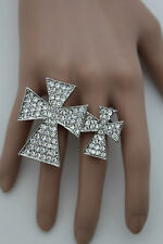 Weekend Women Silver Metal Big Fashion Ring Elastic Band Double Cross Protection