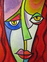 Watercolor Painting Abstract Face ACEO Art