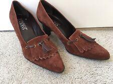 """NWOB FRANCO SARTO Ladies 8.5 Tassel Shoes Work Pumps Brown Suede ~ 3"""" Heels NEW!"""