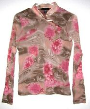 WESTERN WEAR Nylon Stretch Lined Mandarin Asian Collar Fitted Fit Top Shirt M/L