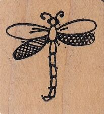 "dragonfly raindrops on roses Wood Mounted Rubber Stamp 1 x 1"" Free Shipping"