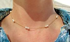 """Vintage 18K Japanese Creamy Akoya Pearl Station Necklace 14.5"""" Petite Or Youth"""
