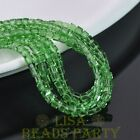 100pcs 4mm Cube Square Faceted Crystal Glass Loose Spacer Beads Green