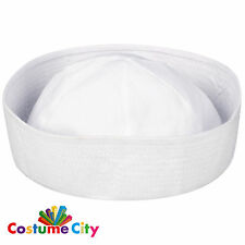Adults White Sailor Hat Doughboy Navy Fancy Dress Party Costume Accessory