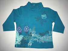 CATIMINI Tee-shirt Turquoise Hibou Col Montant 6 Mois Comme Neuf