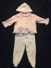 Baby Girls - 3pc Pants Outfit - Sz 6m - Pink/White - Bunnies - by Little Me