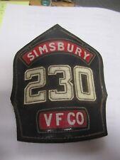 Cairns  Vintage Antique Leather Fire Helmet  Badge -SIMSBURY # 230