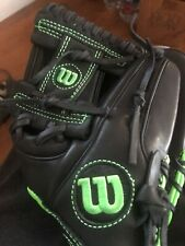 Wilson 6-4-3 Black/Green Leather youth baseball glove - right hand throw 11.5""