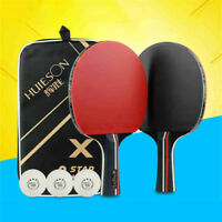 Pair Carbon Fiber Table Tennis Racket Ping Pong Paddle Bat Short Handle & Case