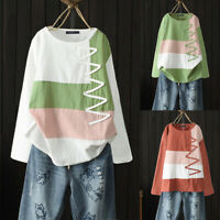 ZANZEA Femme Haut Loisir Ample Coton Couture Manche longue Chemise Shirt Plus
