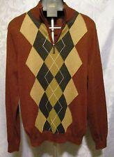 NWT ~ Tasso Elba Mens Dark Brown Argyle Half Zip Mock Neck Sweater ~ Size S