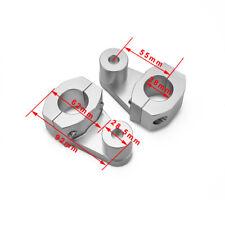 "1 1/8"" CNC HandleBar Handle Fat Bar Mount Clamp Riser Enduro Supermoto Silver"
