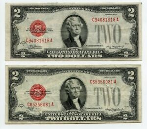 1928 D $2 Two Dollar United States Note VF/XF Lot of 2 Notes, FR#1505