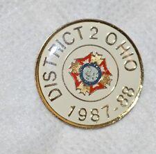 "OHIO VFW DISTRICT 2 1987-88 MILITARY VETERANS 1"" GOLDTONE METAL LAPEL PIN"