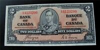 1937  CANADA BANKNOTE $2 DOLLARS BANK OF CANADA  CRISP  BC-22c