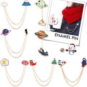 ENAMEL PINS CHAIN Accessory Women Collar Brooch Pendant Birthday Christmas Gift