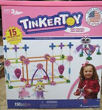 TINKERTOY 56541 Pink Building Set 150 Piece Plans for 15 Ideas USA Classic