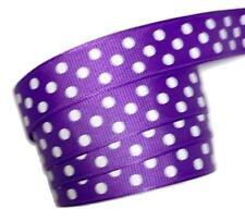 "5 yards Purple polka dot print 5/8"" grosgrain ribbon by the yard DIY"