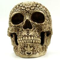 Brown Skull Head Collectible Skeleton Decoration Statue for Halloween Decor