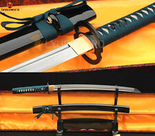 Full Tang Japanese Samurai Sword Wakizashi Folded Steel Sharp Damascus Blade