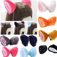 Women Girls Cat Ear Hair Clip Cosplay Party Cat Fox Long Fur Ears Animal C MCA