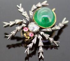 2.50ct Rosecut Diamond Emerald Ruby Topaz Antique Victorian Look Silver Brooch
