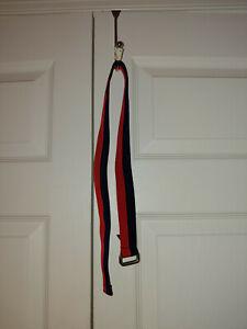 "Youth Boy Ralph Lauren Polo Red Blue Grosgrain Ribbon D Link Belt Size 30"""