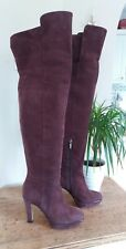 Hobbs London Size 4.5 Stunning Wine Genuine Suede Leather Over The Knee Boots