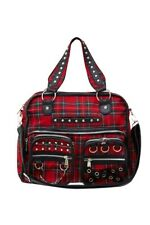 Jawbreaker BGA 3594 Black Red Tartan Studded Messenger Bag Punk Gothic Party