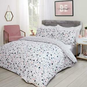 Dreamscene Terrazzo Marble Duvet Cover with Pillow Cases Bedding Set Blush Grey