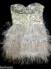 NWT Bebe gray silver sequin strapless isis feather bustier top dress XXS 00 0