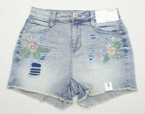 NEW Arizona Women Juniors 3 Light Wash Embroidered HI-RISE SHORTIE Denim Shorts