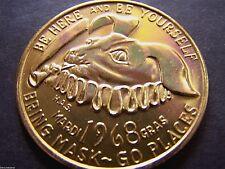 1968 Mobile Mardi Gras Schedule (HAS) Gold Aluminum Souvenir Doubloon