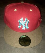 New Era NY Yankees Baseball Cap Burgundy Brown Blue Fitted Hat 7-1/4 (57.7cm)