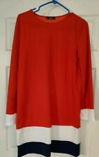 Red mod dress with long sleeves M