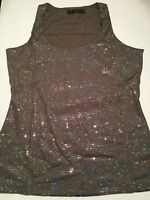 The Limited Women's Tank Top Size S, M , L , XL Silver Sequin Evening Work