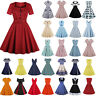 Womens 50s 60s Hepburn Vintage Rockabilly Housewife Evening Party Swing Dress