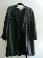 Eileen Fisher S Black Textured Silk Long Open Jacket Kimono Topper Gorgeous!
