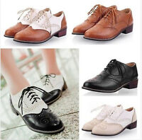 New Wingtip Oxfords Fashion Womens Lace Up Brogues College Flats Heels Shoes SZ